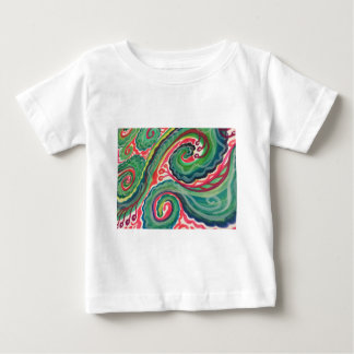 Whimsical Watercolor: Pink and Bright Green Baby T-Shirt
