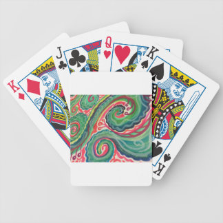 Whimsical Watercolor: Pink and Bright Green Bicycle Playing Cards