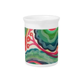 Whimsical Watercolor: Pink and Bright Green Pitcher