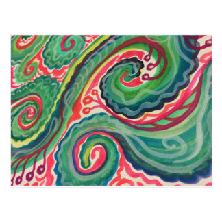 Whimsical Watercolor: Pink and Bright Green Postcard
