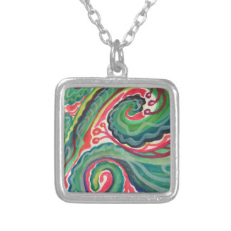 Whimsical Watercolor: Pink and Bright Green Silver Plated Necklace