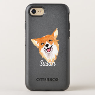 Whimsical Watercolor Print Corgi OtterBox Symmetry iPhone 8/7 Case