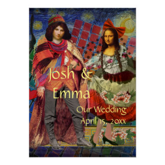 Whimsical Wedding Couple Poster Funny