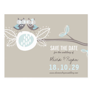 Whimsical Wedding Owls Tree Branch Save The Date Postcard