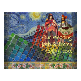 Whimsical Wedding Program Fun Cute colorful 21.5 Cm X 28 Cm Flyer