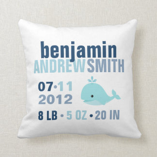 Whimsical Whale Baby Birth Announcement {blue} Cushion