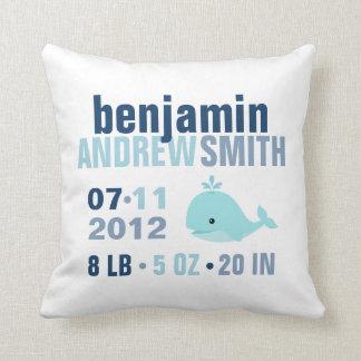 Whimsical Whale Baby Birth Announcement {blue} Throw Cushions