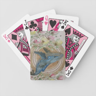 Whimsical whale bicycle playing cards