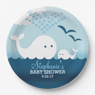 Whimsical Whales (boy) Baby Shower Paper Plate