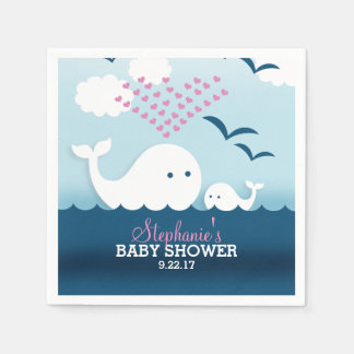Whimsical Whales (girl) Baby Shower Disposable Serviette