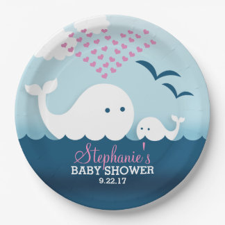 Whimsical Whales (girl) Baby Shower Paper Plate