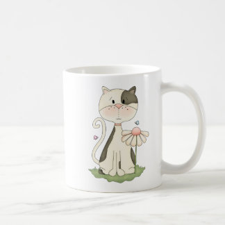 Whimsical White and Grey Kitty with Flower Coffee Mug