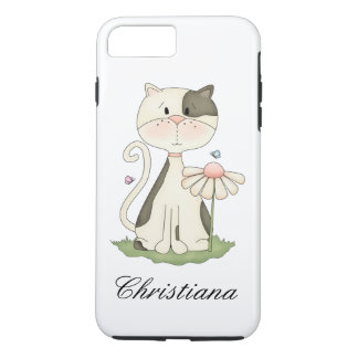 Whimsical White and Grey Kitty with Flower iPhone 7 Plus Case