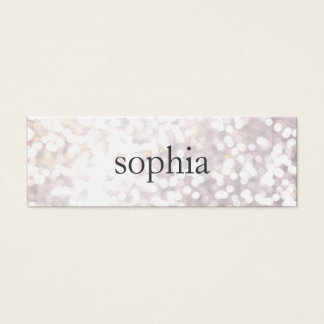 Whimsical White Bokeh Makeup Artist Mini Business Card