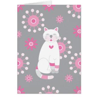 Whimsical White Cat Birthday Greeting Card