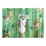 Whimsical White Deer Head Floral Pattern Wood Pack Of Chubby Business Cards