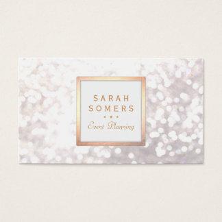 Whimsical White Glitter Bokeh Elegant Gold Frame
