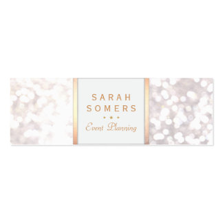 Whimsical White Glitter Bokeh Elegant Gold Frame Pack Of Skinny Business Cards