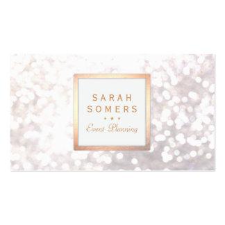 Whimsical White Glitter Bokeh Elegant Gold Frame Pack Of Standard Business Cards