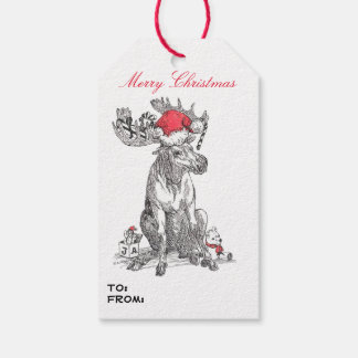 Whimsical Wildlife Christmas Moose Designed Gift Tags