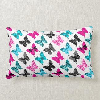 Whimsical Wings: Berries and Blues Lumbar Cushion
