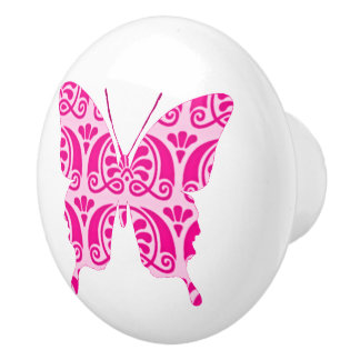 Whimsical Wings: Victorian Pink Ceramic Knob