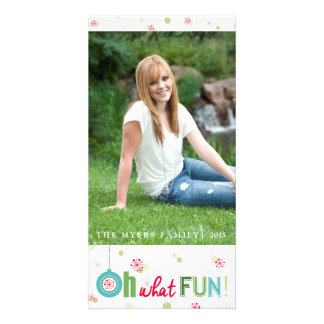 Whimsical winter Oh what fun Photo Cards