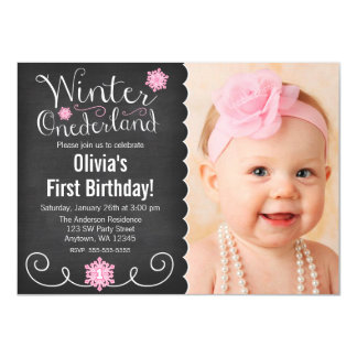 "Whimsical Winter Onederland Photo First Birthday 4.5"" X 6.25"" Invitation Card"