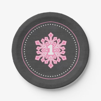 Whimsical Winter Onederland Snowflake Birthday Pin Paper Plate