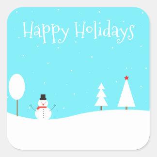Whimsical Winter Scene Holiday Sticker