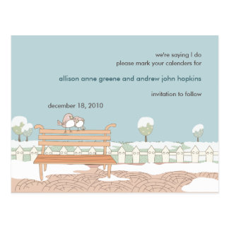 Whimsical Winter Wedding Save the Date Postcard