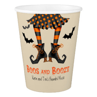 Whimsical Witch and Bats Halloween Party Paper Cup