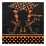 Whimsical Witch Legs Halloween Party 13 Cm X 13 Cm Square Invitation Card