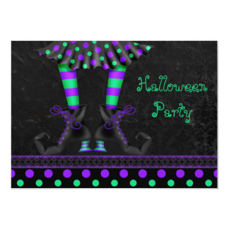 Whimsical Witch Legs Halloween Party 13 Cm X 18 Cm Invitation Card