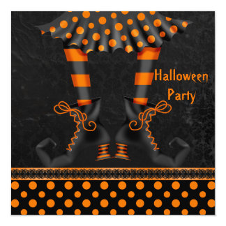 Whimsical Witch Legs Halloween Party Card