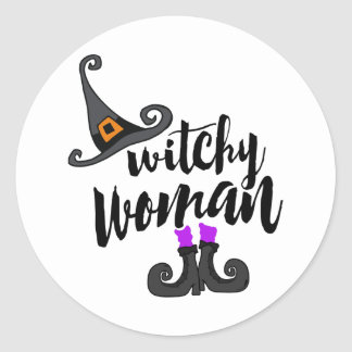 Whimsical Witchy Woman Halloween Classic Round Sticker