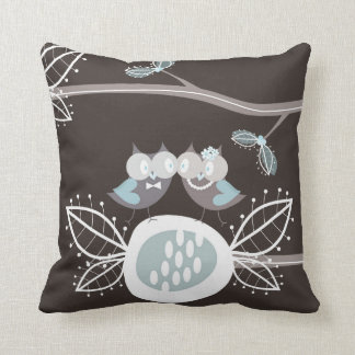 Whimsical Woodland Forest Cute Blue Wedding Owls Pillow