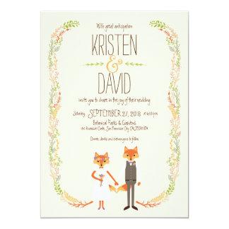Whimsical Woodland Foxes Ivory Wedding Card