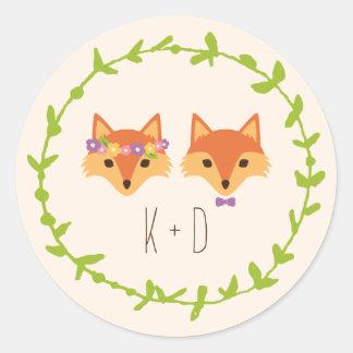Whimsical Woodland Foxes Ivory wedding Classic Round Sticker