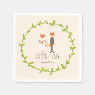 Whimsical Woodland Foxes Ivory wedding Paper Napkin
