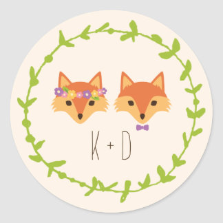 Whimsical Woodland Foxes Ivory wedding Round Sticker