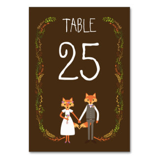 Whimsical Woodland Foxes Wedding Information Card Table Cards