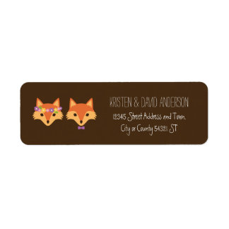Whimsical Woodland Foxes Wedding Return Address Label