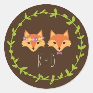 Whimsical Woodland Foxes wedding Round Sticker