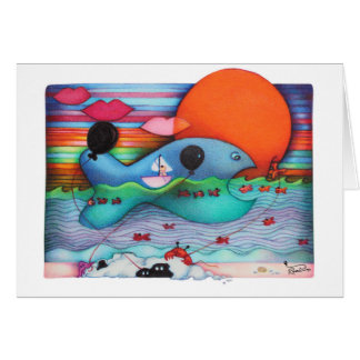 Whimsical World of Woobies Whale Greeting Card