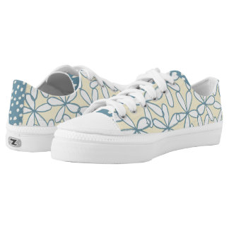 Whimsical Yellow and Blue Flowers Tennis Shoes