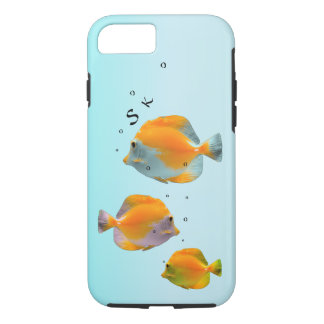 Whimsical Yellow Coral Fish Monogram Powder Blue iPhone 8/7 Case