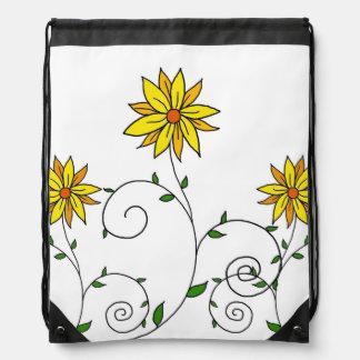 Whimsical Yellow Flower Doodle Art Rucksacks