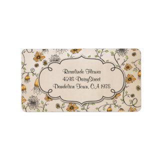 whimsical yellow flowers on pink address label