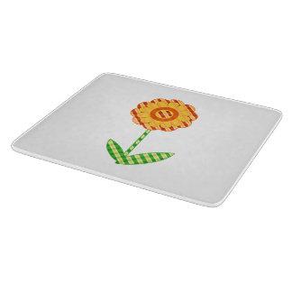 Whimsical Yellow Orange Plaid Floral Cutting Board